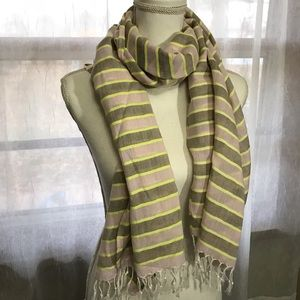 Light Pink / Yellow / Gray Striped Fray End Scarf